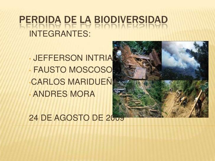 PERDIDA DE LA BIODIVERSIDAD<br />INTEGRANTES: <br /><ul><li> JEFFERSON INTRIAGO