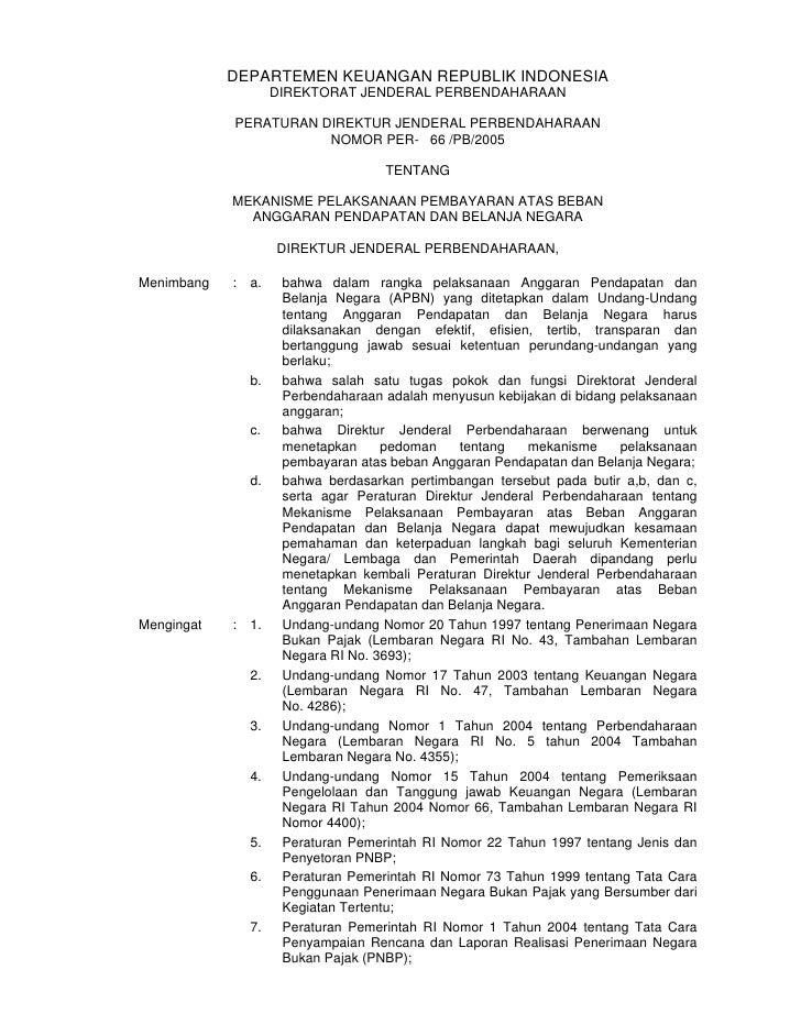 DEPARTEMEN KEUANGAN REPUBLIK INDONESIA                      DIREKTORAT JENDERAL PERBENDAHARAAN              PERATURAN DIRE...