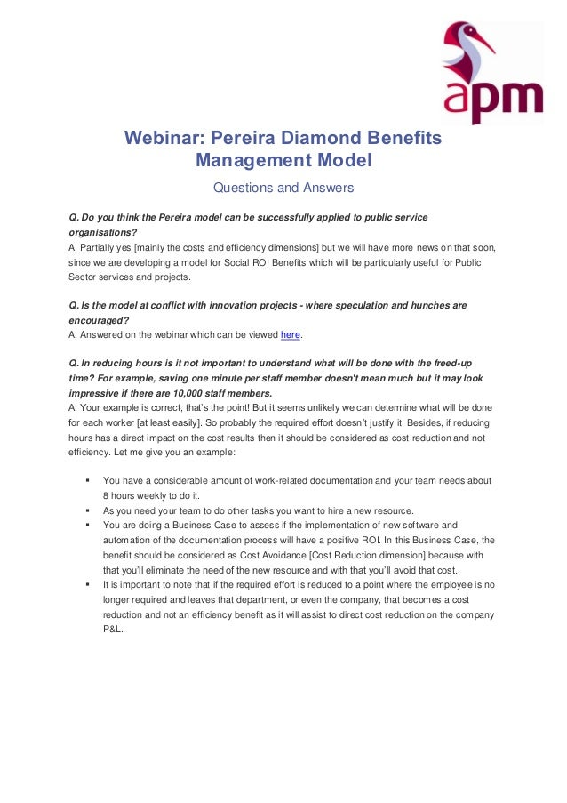 Webinar: Pereira Diamond Benefits Management Model Questions and Answers Q. Do you think the Pereira model can be successf...