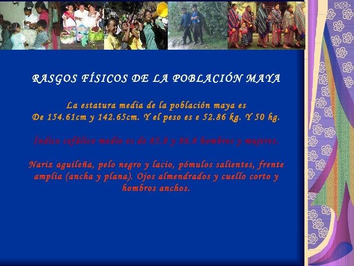 RASGOS FÍSICOS DE LA POBLACIÓN MAYA La estatura media de la población maya es De 154.61cm y 142.65cm. Y el peso es e 52.86...