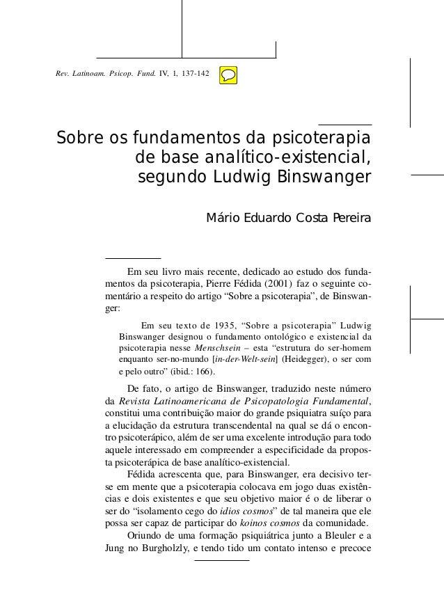 C L Á S S I C O S DA                                     PSICOPATOLOGIARev. Latinoam. Psicop. Fund. IV, 1, 137-142Sobre os...