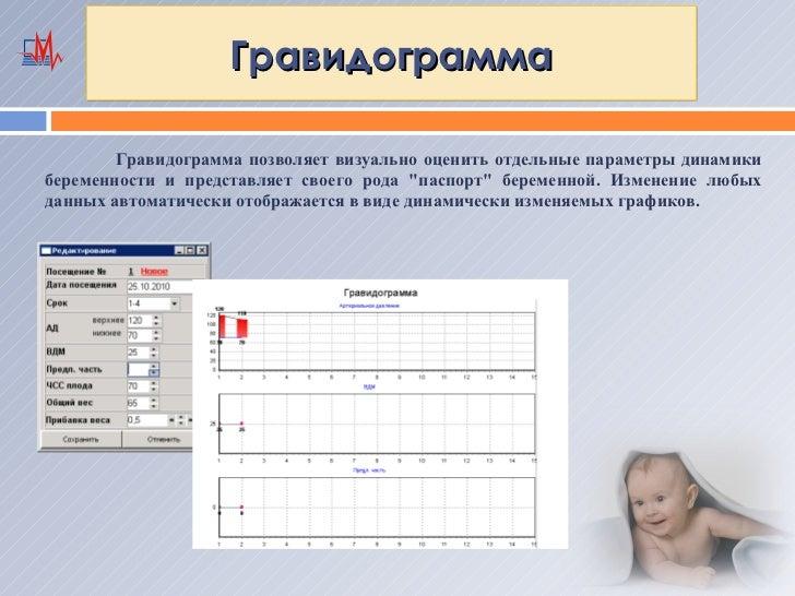 Гравидограмма        Гравидограмма позволяет визуально оценить отдельные параметры динамикибеременности и представляет сво...