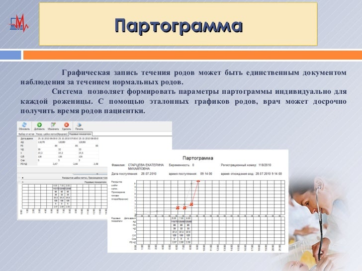 Партограмма          Графическая запись течения родов может быть единственным документомнаблюдения за течением нормальных ...