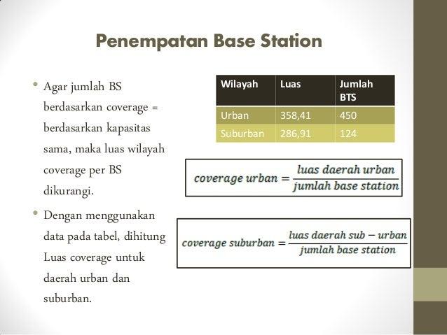 Penempatan Base Station • Agar jumlah BS berdasarkan coverage = berdasarkan kapasitas sama, maka luas wilayah coverage per...