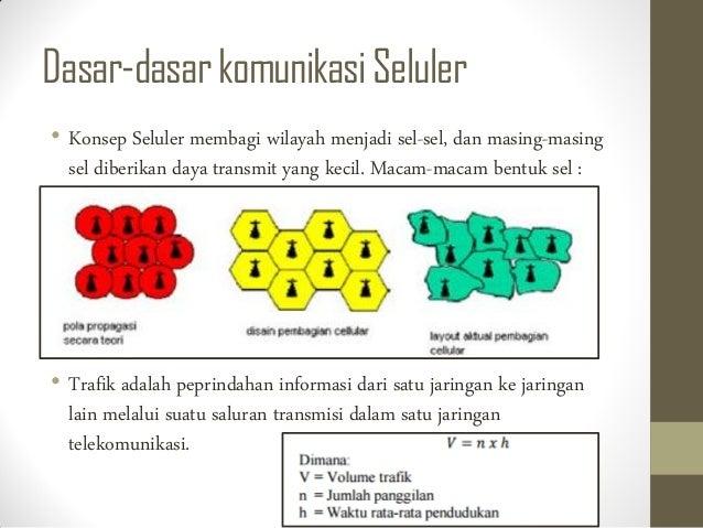 Dasar-dasarkomunikasiSeluler • Konsep Seluler membagi wilayah menjadi sel-sel, dan masing-masing sel diberikan daya transm...