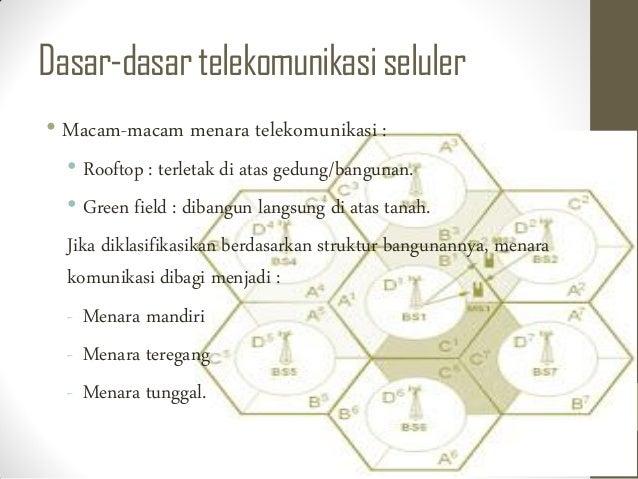 Dasar-dasartelekomunikasiseluler • Macam-macam menara telekomunikasi : • Rooftop : terletak di atas gedung/bangunan. • Gre...
