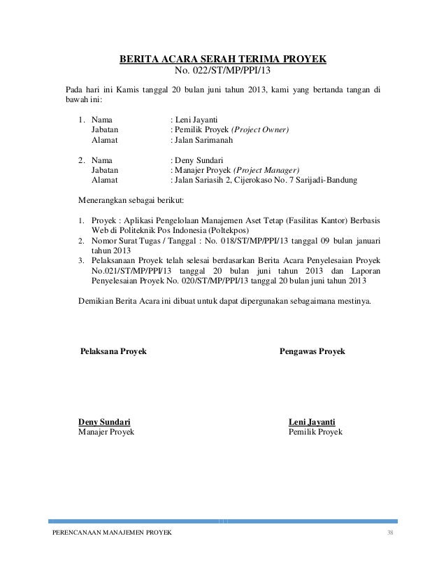 Contoh Surat Berita Acara Serah Terima Aset Surat 26