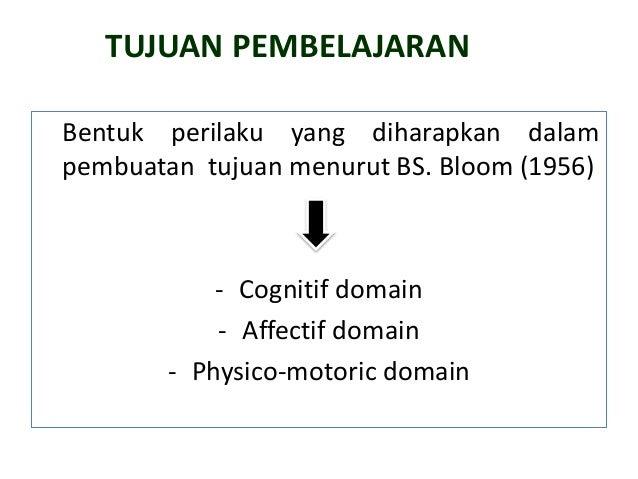 TUJUAN PEMBELAJARAN Bentuk perilaku yang diharapkan dalam pembuatan tujuan menurut BS. Bloom (1956) - Cognitif domain - Af...