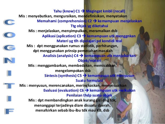 Tahu (know) C1  Megingat kmbli (recall) Mis : menyebutkan, menguraikan, mendefinisikan, menyatakan Memahami (comprehensio...