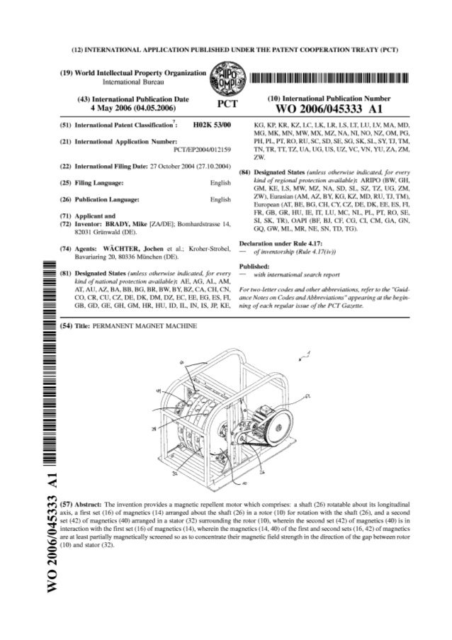 2150dbfd735 Perendev magnet motor patent wo2006045333 a1