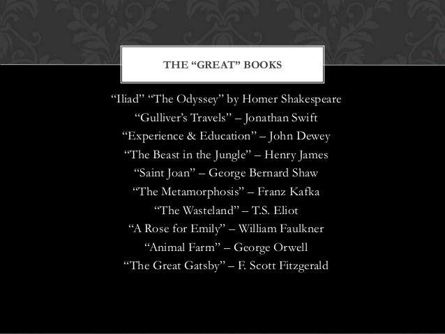 """Iliad"" ""The Odyssey"" by Homer Shakespeare ""Gulliver's Travels"" – Jonathan Swift ""Experience & Education"" – John Dewey ""Th..."