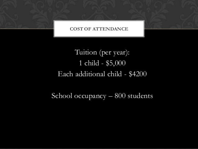Tuition (per year): 1 child - $5,000 Each additional child - $4200 School occupancy – 800 students COST OF ATTENDANCE