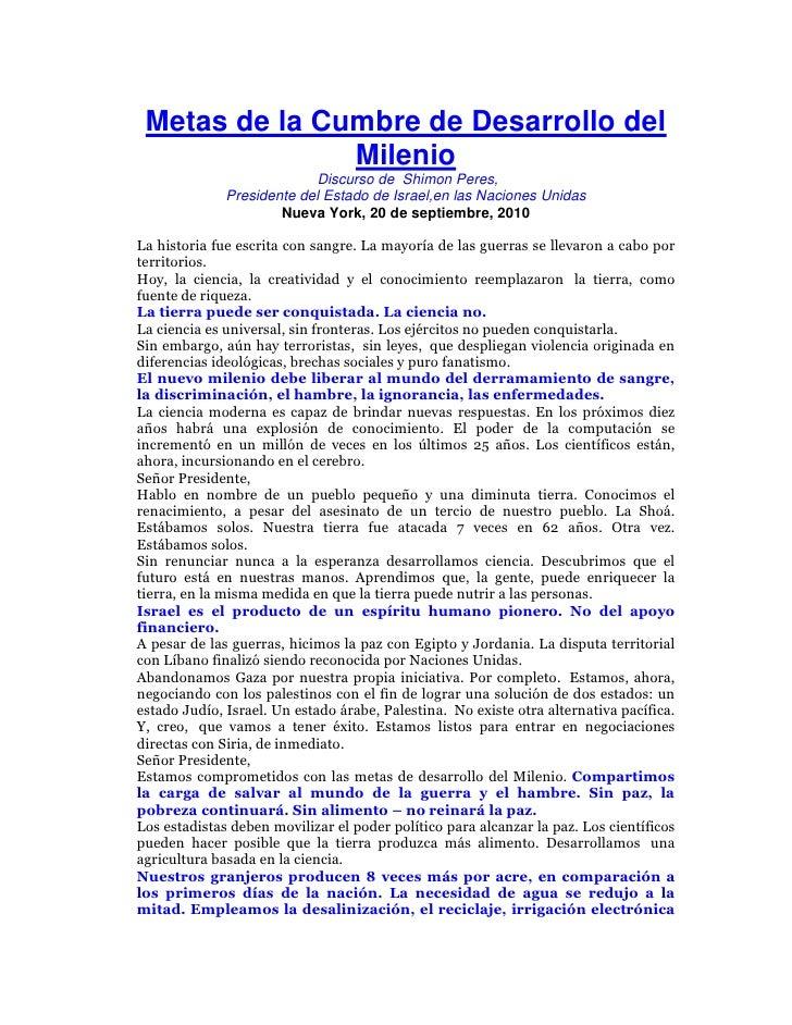 Metas de la Cumbre de Desarrollo del                Milenio                            Discurso de Shimon Peres,          ...