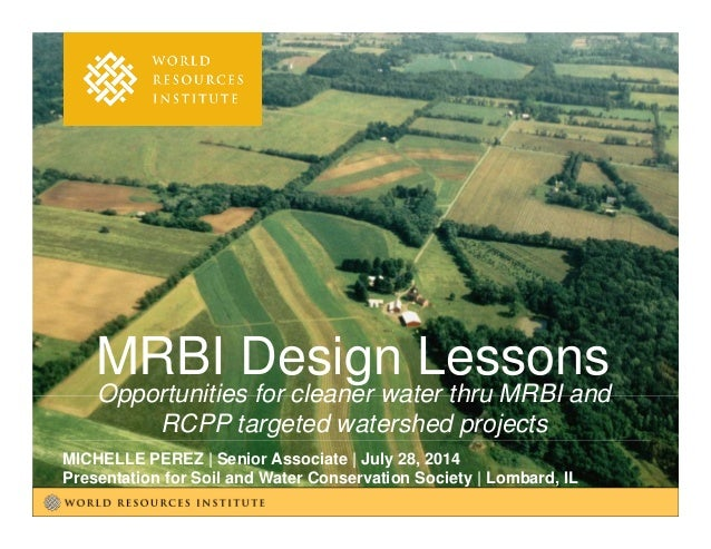Opportunities for cleaner water thru MRBI and RCPP targeted watershed projects MICHELLE PEREZ | Senior Associate | July 28...