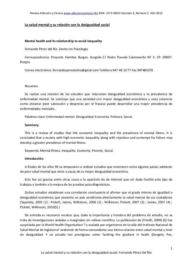 Revista Adicción y Ciencia www.adiccionyciencia.info ISSN: 2172-6450 Volumen 3, Número 2. Año 2013 1 La salud mental y su ...