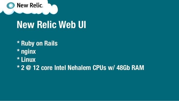 New Relic Web UI* Ruby on Rails* nginx* Linux* 2 @ 12 core Intel Nehalem CPUs w/ 48Gb RAM