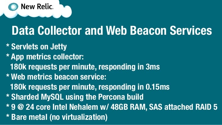 Data Collector and Web Beacon Services* Servlets on Jetty* App metrics collector: 180k requests per minute, responding in ...