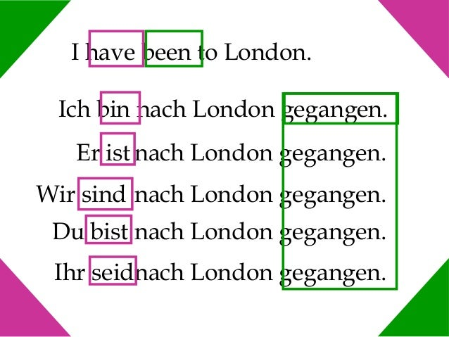 I have been to London. Ich bin nach London gegangen. Er ist nach London gegangen. Wir sind nach London gegangen. Du bist n...
