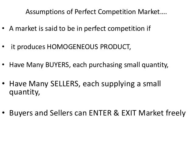 assumptions of perfect competition