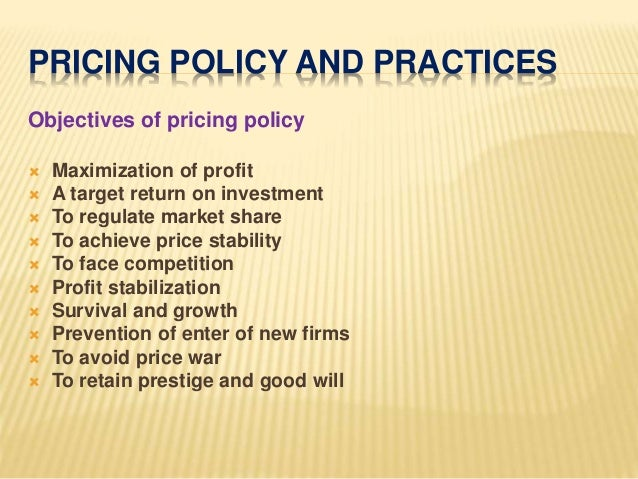 the pricing policy A pricing strategy takes into account segments, ability to pay, market conditions,  competitor actions, trade margins and input costs, amongst others it is targeted.