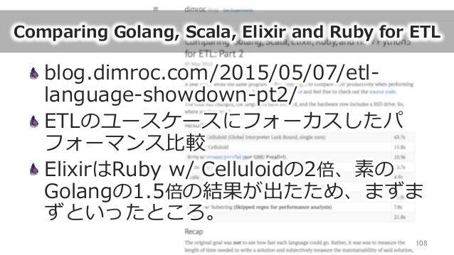 Comparing Golang, Scala, Elixir and Ruby for ETL blog.dimroc.com/2015/05/07/etl-‐‑‒ language-‐‑‒showdown-‐‑‒pt2/ E...