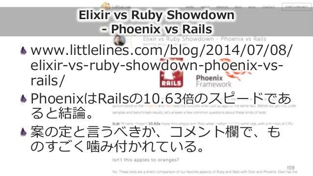 Elixir vs Ruby Showdown -‐‑‒ Phoenix vs Rails www.littlelines.com/blog/2014/07/08/ elixir-‐‑‒vs-‐‑‒ruby-‐‑‒showdown-...
