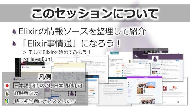 このセッションについて 3 Elixirの情報ソースを整理理して紹介 「Elixir事情通」になろう! |> そしてElixirを始めてみよう! |> Have Fun! 凡例例 ⽇日本語, 和訳あり, ⽇日本語利利⽤用可 経験者...