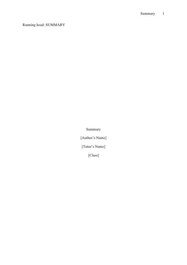 Summary   1   Running head: SUMMARY                                Summary                          [Author's Name]       ...