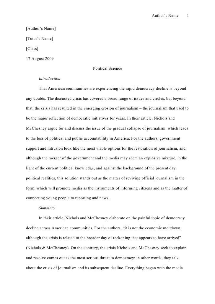 Example essay paper mla format