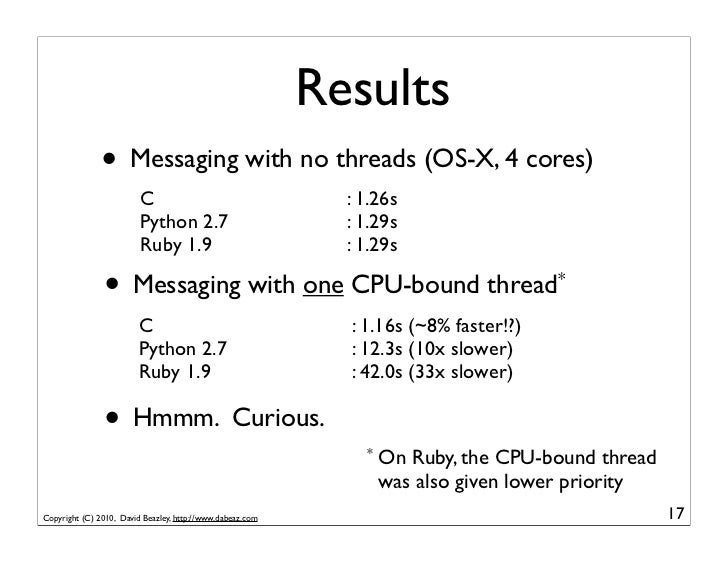 Results               • Messaging with no threads (OS-X, 4 cores)                         C                               ...