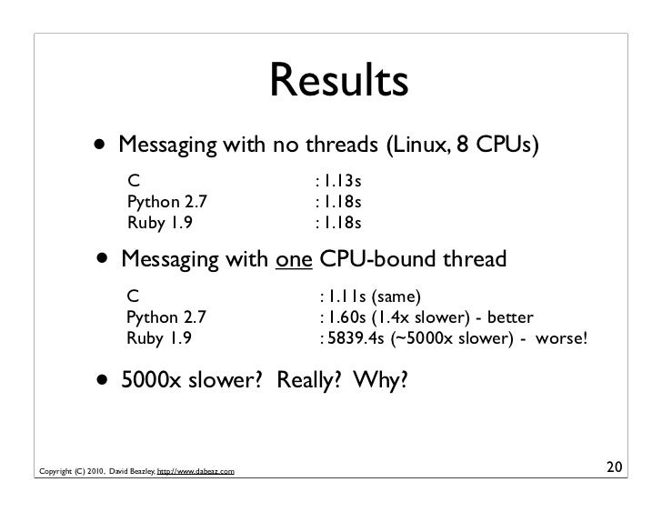 Results               • Messaging with no threads (Linux, 8 CPUs)                         C                               ...