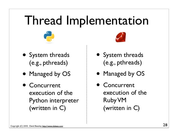 Thread Implementation            • System threads                               • System threads                   (e.g., ...