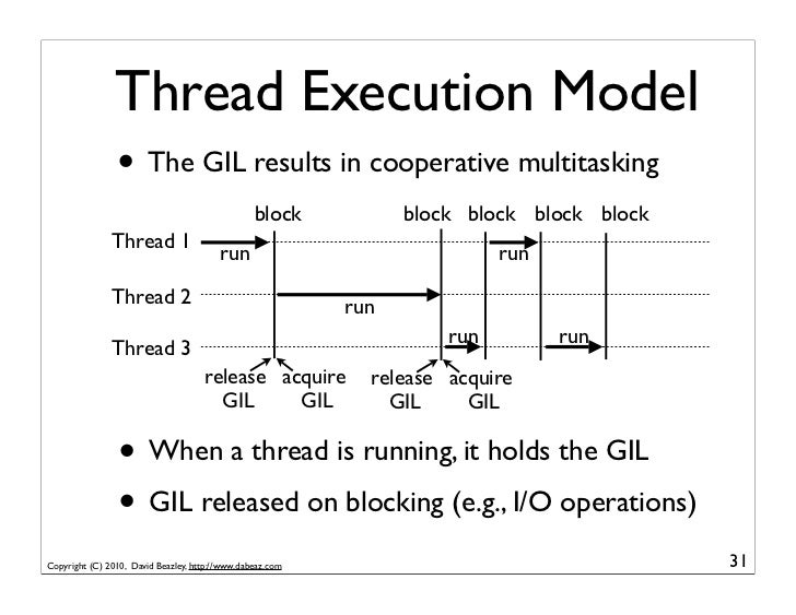 Thread Execution Model                • The GIL results in cooperative multitasking                                       ...