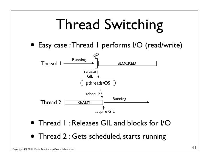 Thread Switching                • Easy case : Thread 1 performs I/O (read/write)                                          ...