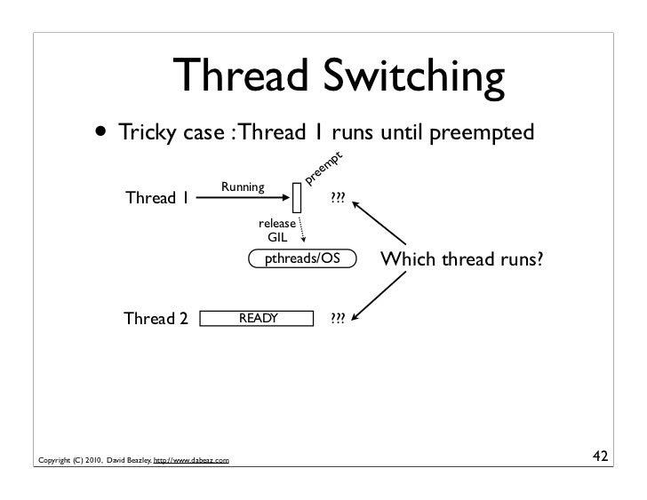 Thread Switching                • Tricky case : Thread 1 runs until preempted                  pt                         ...
