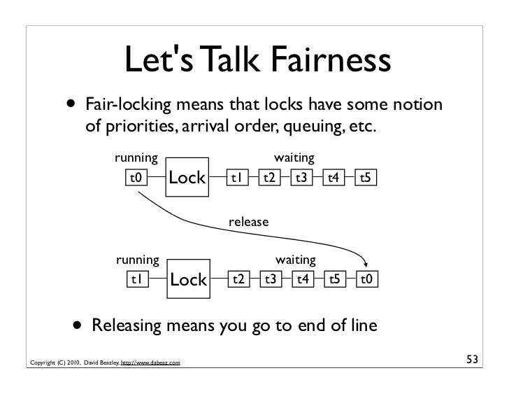 Lets Talk Fairness             • Fair-locking means that locks have some notion                    of priorities, arrival ...