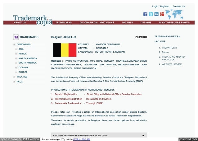 Login / Register | Contact Us  ABOUT US  TRADEMARKS  TRADEMARKS  GEOGRAPHICAL INDICATIONS  PATENTS  DESIGNS  7:39:00  Belg...