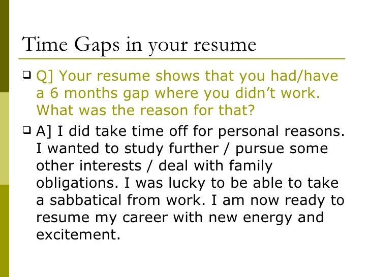 dealing with gaps in resume