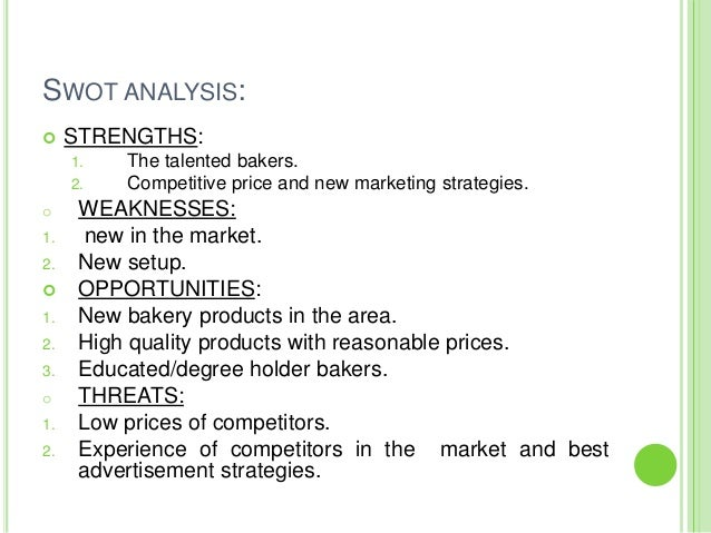 Swot analysis for bakery business plan