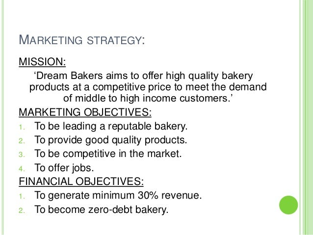 Sample Marketing Plan Of A Bakery