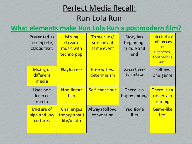 postmodernism run lola run  2 perfect media recall run lola
