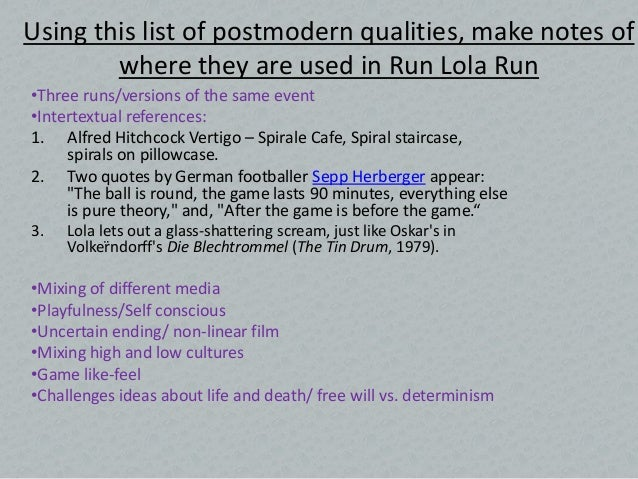 postmodernism run lola run