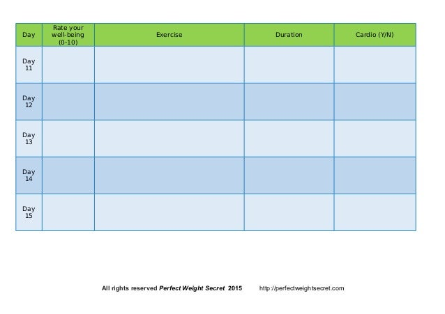 Perfect Weight Secret  Workout Log Template
