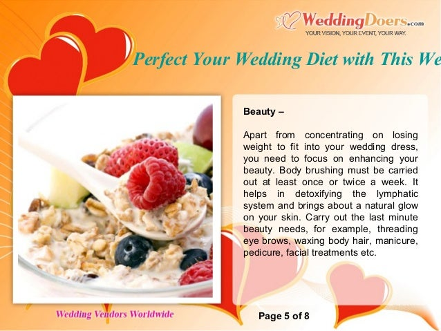 perfect your wedding diet with this weekly schedule