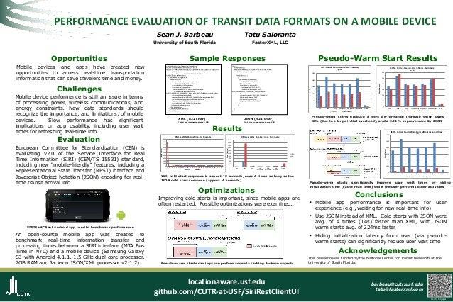 PERFORMANCE EVALUATION OF TRANSIT DATA FORMATS ON A MOBILE DEVICE Sean J. Barbeau  Tatu Saloranta  University of South Flo...
