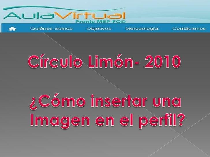 Círculo Limón- 2010<br />¿Cómo insertar una <br />Imagen en el perfil?<br />
