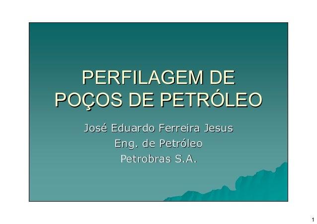 PERFILAGEM DEPOÇOS DE PETRÓLEO  José Eduardo Ferreira Jesus        Eng. de Petróleo         Petrobras S.A.                ...