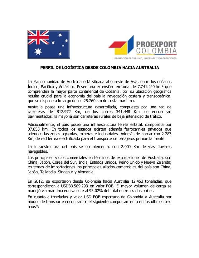 PERFIL DE LOGÍSTICA DESDE COLOMBIA HACIA AUSTRALIALa Mancomunidad de Australia está situada al sureste de Asia, entre los ...