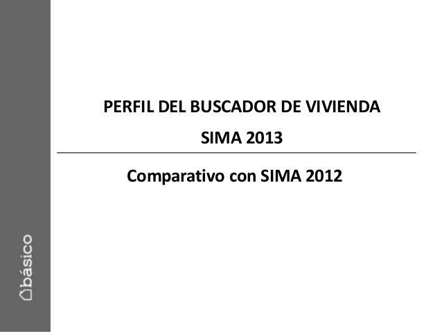 PERFIL DEL BUSCADOR DE VIVIENDASIMA 2013Comparativo con SIMA 2012