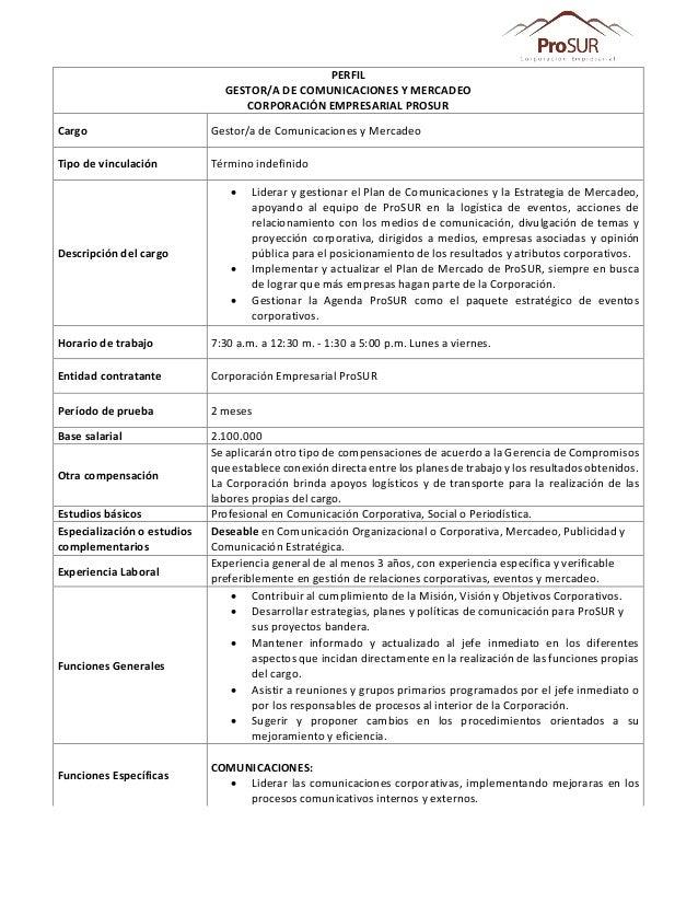 PERFIL GESTOR/A DE COMUNICACIONES Y MERCADEO CORPORACIÓN EMPRESARIAL PROSUR Cargo Gestor/a de Comunicaciones y Mercadeo Ti...